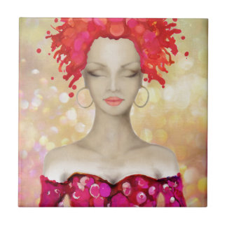 Crazy Pink hair night out Small Square Tile