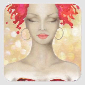 Crazy Pink hair night out Square Stickers