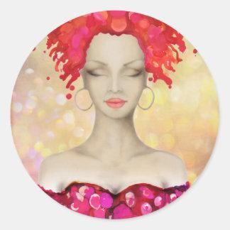 Crazy Pink hair night out Round Sticker