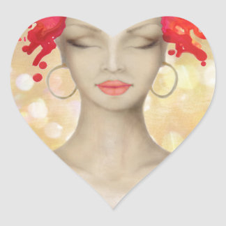 Crazy Pink hair night out Heart Sticker