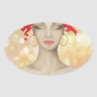 Crazy Pink hair night out Oval Stickers