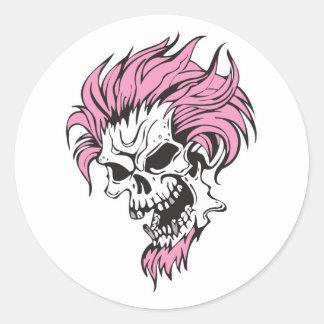 crazy pink hair skull classic round sticker