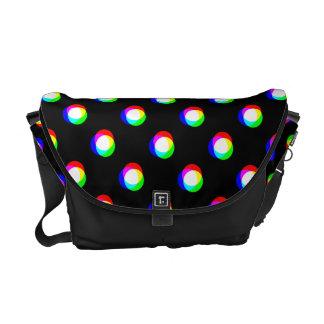 Crazy Polka Dots Custom Black Background M Messenger Bag