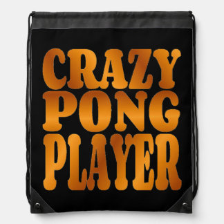 Crazy Pong Player in Gold Drawstring Backpack