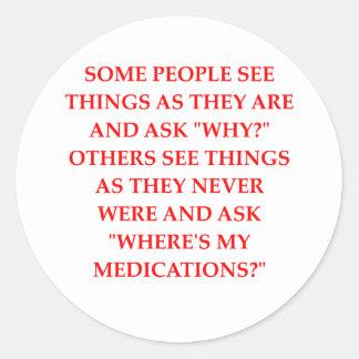 crazy psychiatrist joke classic round sticker