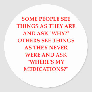 crazy psychiatrist joke round stickers