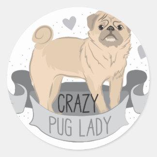 crazy pug lady banner classic round sticker