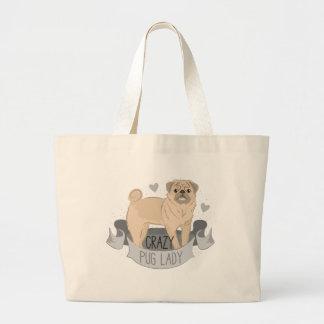 crazy pug lady banner large tote bag