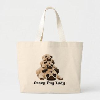 Crazy Pug Lady Large Tote Bag