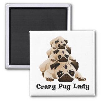 Crazy Pug Lady Magnet