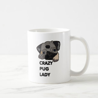 Crazy Pug Lady Classic White Coffee Mug