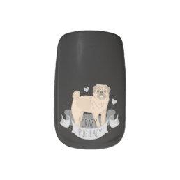 Crazy pug lady nail set minx nail art