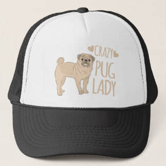 crazy pug lady trucker hat