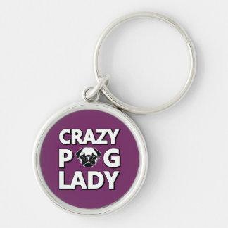 Crazy Pug Lady Typography Graphics Keychain