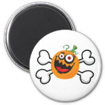 Crazy Pumpkin Skull and Crossbones Fridge Magnets