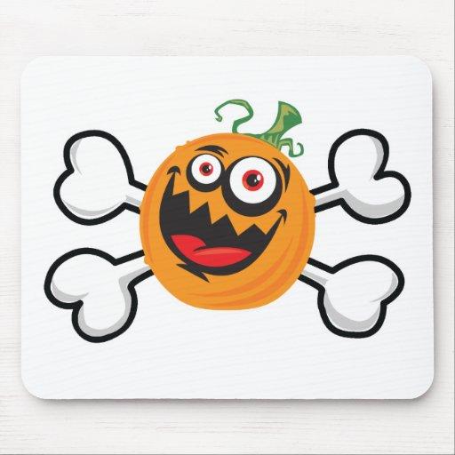 Crazy Pumpkin Skull and Crossbones Mouse Pad