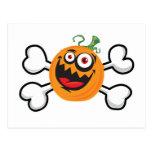 Crazy Pumpkin Skull and Crossbones Postcards