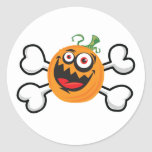 Crazy Pumpkin Skull and Crossbones Round Sticker