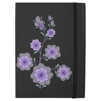 "Crazy purple flowers black iPad pro 12.9"" case"