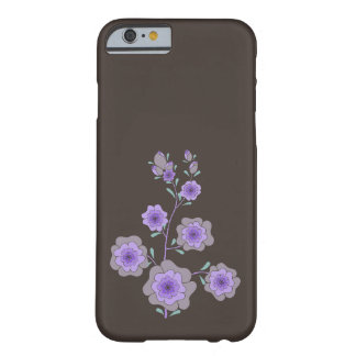 Crazy purple flowers brown barely there iPhone 6 case