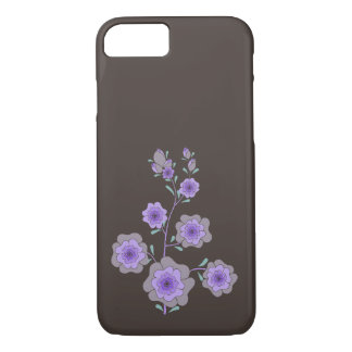 Crazy purple flowers brown iPhone 7 case
