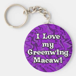 Crazy Purple I Love my Greenwing Macaw Keychain