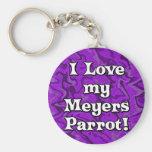 Crazy Purple I Love my Meyers Parrot Keychain