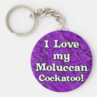 Crazy Purple I Love my Moluccan Cockatoo Keychain