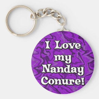 Crazy Purple I Love my Nanday Conure Keychain