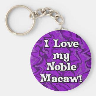 Crazy Purple I Love my Noble Macaw Keychain