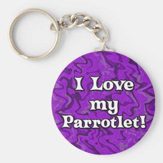 Crazy Purple I Love my Parrotlet Keychain