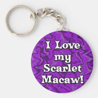 Crazy Purple I Love my Scarlet Macaw Keychain