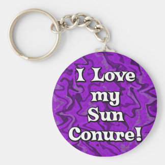 Crazy Purple I Love my Sun Conure Keychain