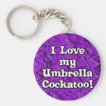 Crazy Purple I Love my Umbrella Cockatoo Keychain