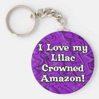 Crazy Purple Lilac Crowned Amazon Keychain