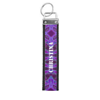 Crazy Purple Pink Abstract Wrist Keychain