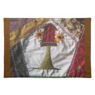Crazy Quilt Birdhouse Cloth Place Mat