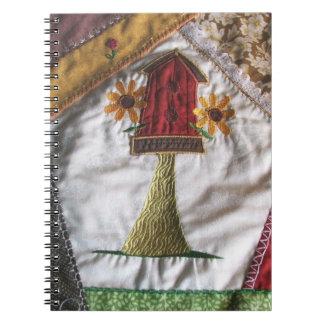 Crazy Quilt Birdhouse Spiral Note Book