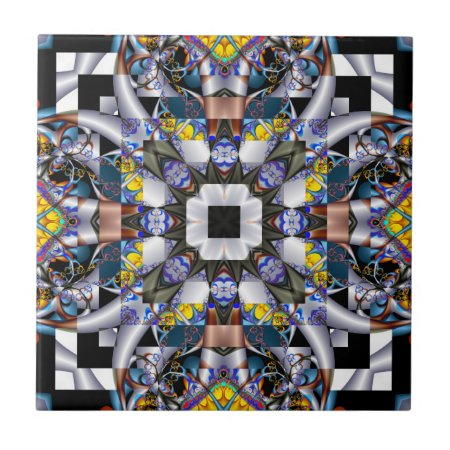 Crazy Quilt Fractal Ceramic Tile