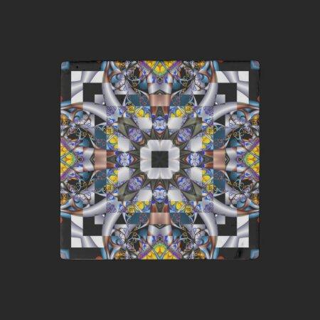 Crazy Quilt Fractal Stone Magnet