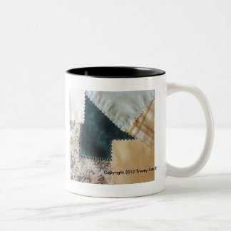 Crazy Quilt, fun, funky, green, tan, white, blue Two-Tone Coffee Mug