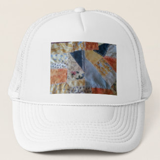 Crazy Quilt, fun, funky, orange, yellow, blue, Trucker Hat