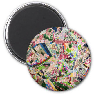 Crazy Quilt in Spring Colors 2 Inch Round Magnet