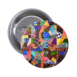 Crazy Quilt Patchwork Quilt Abstract Art Geometric 2 Inch Round Button