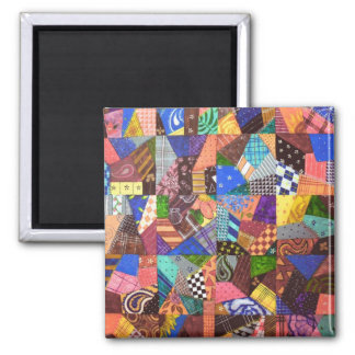 Crazy Quilt Patchwork Quilt Abstract Art Geometric 2 Inch Square Magnet