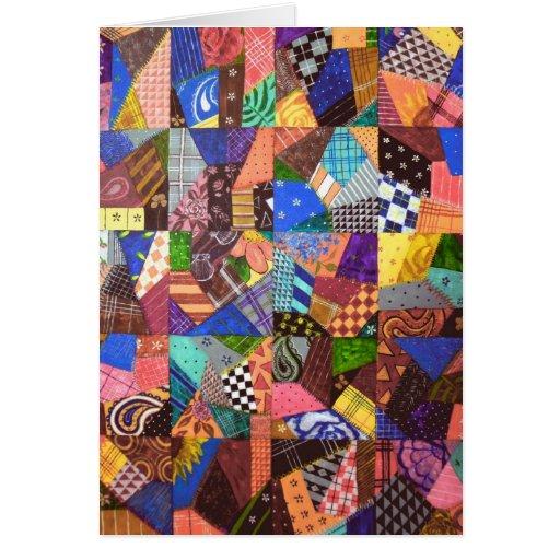 Crazy Quilt Patchwork Quilt Abstract Art Geometric Card