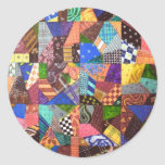 Crazy Quilt Patchwork Quilt Abstract Art Geometric Classic Round Sticker