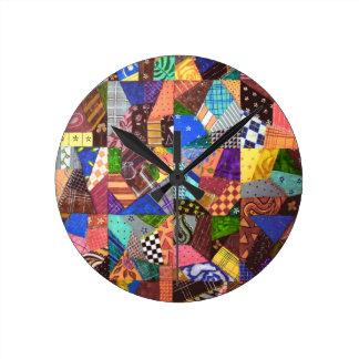 Crazy Quilt Patchwork Quilt Abstract Art Geometric Round Wallclocks