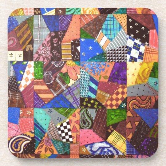 Crazy Quilt Patchwork Quilt Abstract Art Geometric Coaster