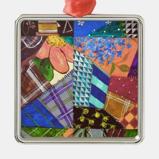 Crazy Quilt Patchwork Quilt Abstract Art Geometric Square Metal Christmas Ornament